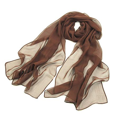 Amazon.com: Long brown plain chiffon scarf lightweight - pantonight Ladies Sheer Silky Brown Scarf for Women Solid,Soft,fashion and for Spring: Clothing