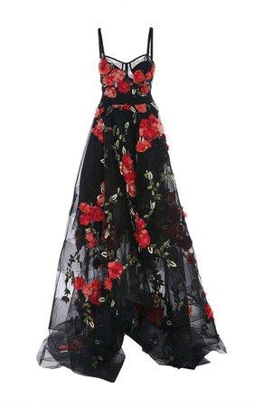 Dark Floral Runway Gown