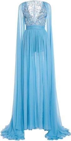 Zuhair Murad Draped Silk-Chiffon Gown