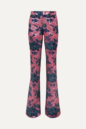 Pink Floral brocade flared pants | Gucci | NET-A-PORTER