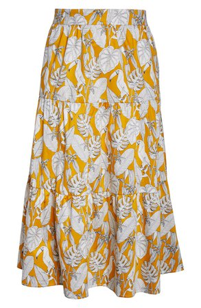 ELOQUII Tropical Print Tiered Cotton Maxi Skirt (Plus Size) | Nordstrom