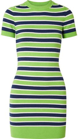 JoosTricot - Striped Stretch Cotton-blend Mini Dress - Green