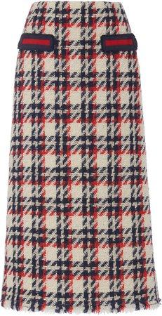 Marc Jacobs Grosgrain-Trimmed Plaid Wool-Blend Tweed Pencil Skirt Size