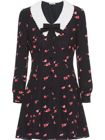Miu Miu heart-print dress black & red MF40681YEN - Farfetch