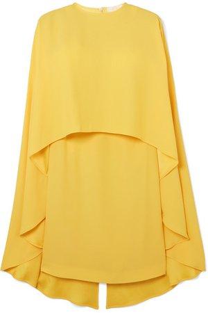 Sara Battaglia | Cape-effect crepe de chine mini dress | NET-A-PORTER.COM