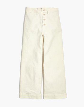 Emmett Wide-Leg Crop Pants: Button-Front Edition