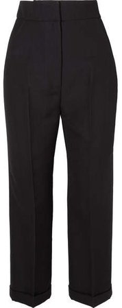 Cariño Cropped Crepe Straight-leg Pants - Black
