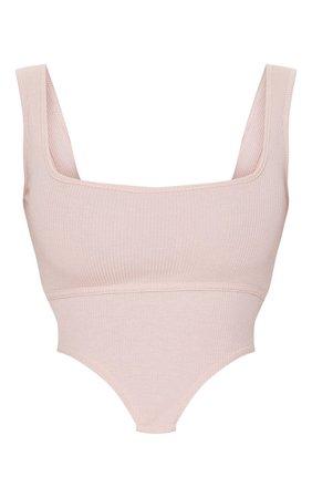Nude Rib Dip Hem Sleeveless Crop Top | Tops | PrettyLittleThing