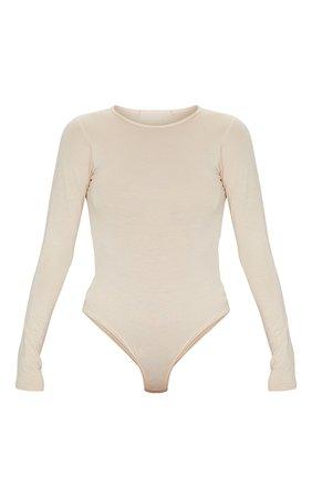 Basic Stone Crew Neck Long Sleeve Bodysuit | PrettyLittleThing USA