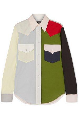CALVIN KLEIN 205W39NYC | Chemise en popeline de coton color-block | NET-A-PORTER.COM