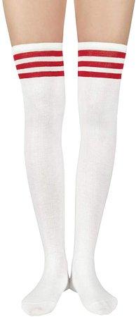 Amazon.com: Zando Womens Thigh High Socks Over Knee Stockings Thin Striped Casual Long Socks Athlete 1 Pack White Red: Clothing