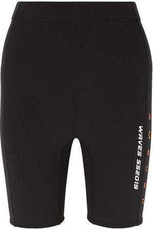Printed Neoprene Shorts - Black