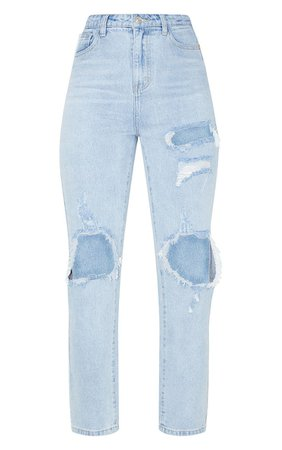 Plt Light Wash Distressed Straight Leg Jean | PrettyLittleThing