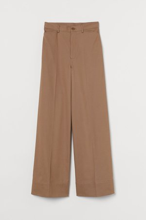 Wide twill trousers - Light brown - Ladies | H&M GB