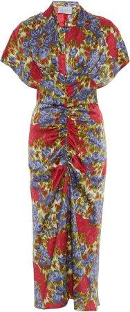 Luisa Beccaria Floral Print Midi Dress