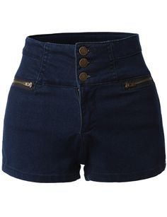 Womens High Waisted Sailor Nautical Denim Jean Shorts with Stretch