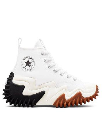 Converse Run Star Motion Hi canvas platform sneakers in white | ASOS