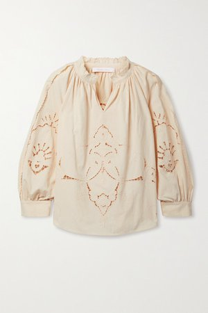 Broderie Anglaise Cotton Blouse - Blush