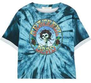 Cropped Printed Tie-dyed Cotton-jersey T-shirt
