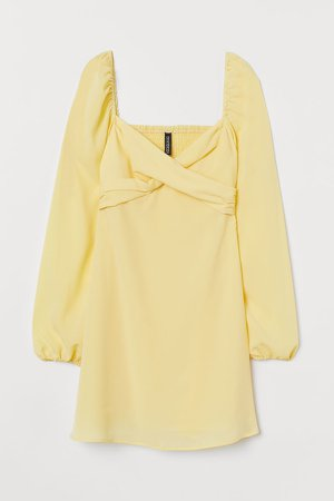 Puff-sleeved Dress - Yellow