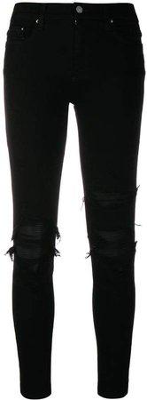 contrast-patch skinny jeans
