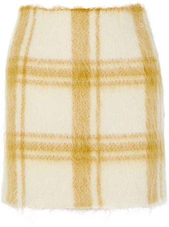 Checked Wool-blend Felt Mini Skirt - Pastel yellow