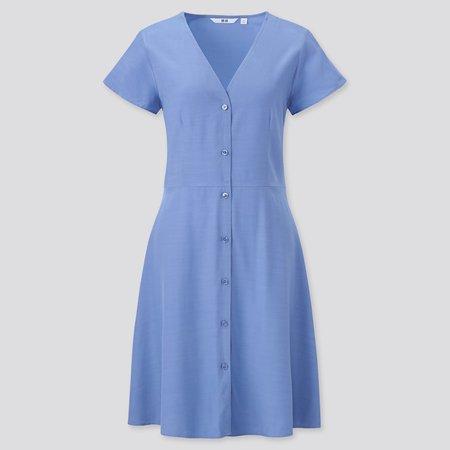 BLUE WOMEN V-NECK SHORT-SLEEVE FLARE DRESS | UNIQLO US