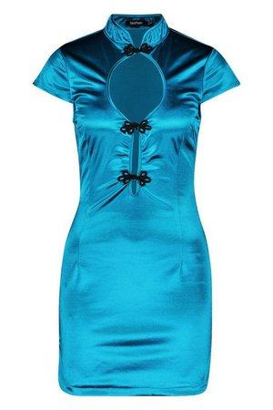Frogging Detail Stretch Satin Mini Dress   Boohoo