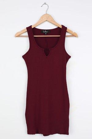 Burgundy Ribbed Mini Dress - Ribbed Bodycon Dress - Mini Dress - Lulus