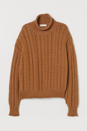 Cable-knit Turtleneck Sweater - Light brown - Ladies | H&M US
