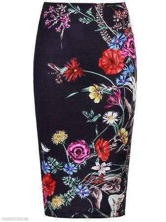Elegant Floral Printed Slit Pencil Midi Skirt - fashionMia.com