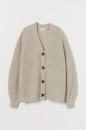 Knit Wool Cardigan - Beige