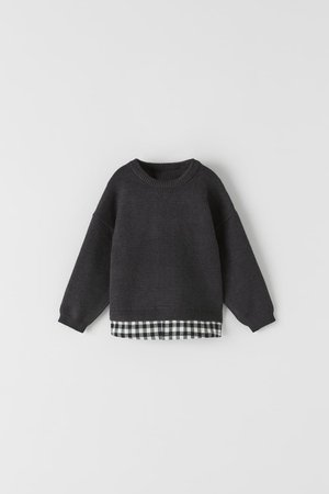 KNIT SWEATER WITH CONTRAST GINGHAM | ZARA Spain