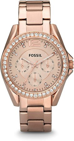 Fossil Women's Riley Quartz Stainless Steel Chronograph Watch, Color: Rose Gold (Model: ES2811): Fossil: Watches