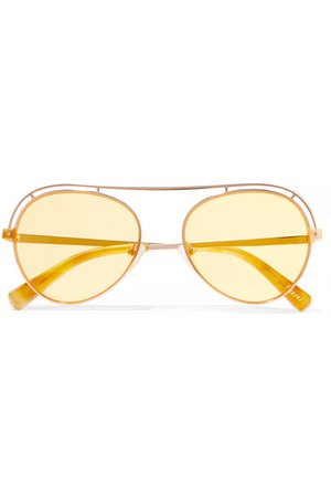 Elizabeth and James | Reeves aviator-style rose gold-tone sunglasses | NET-A-PORTER.COM