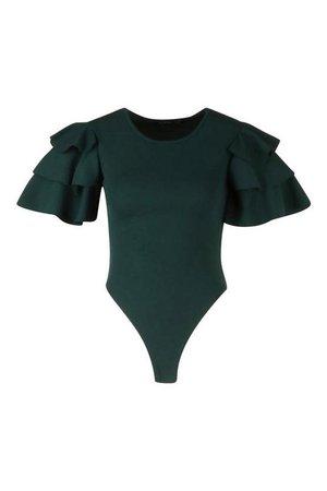 Ruffle Sleeve Crepe Bodysuit   Boohoo