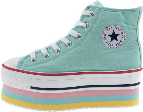 Maxstar Womens CN9 7 Holes Double Platform Canvas High Top Sneakers Mint