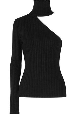 The Range | One-shoulder ribbed stretch-knit turtleneck top | NET-A-PORTER.COM
