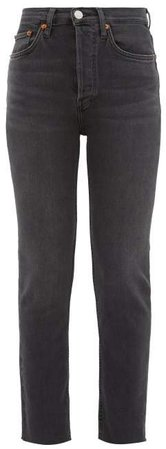 High Rise Cropped Skinny Jeans - Womens - Dark Grey
