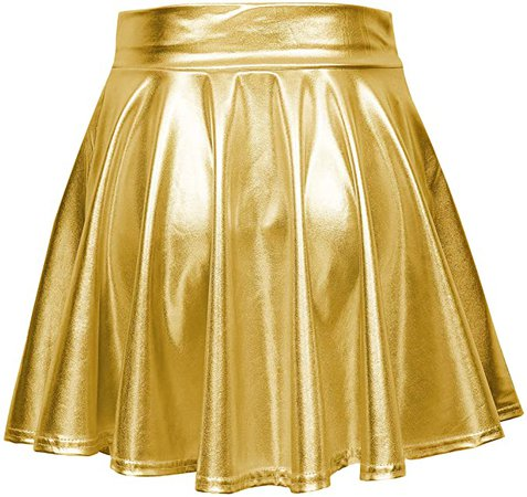 Urban CoCo Shiny Flared Pleated Mini Skater Skirt Gold