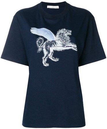 strass lion print T-shirt