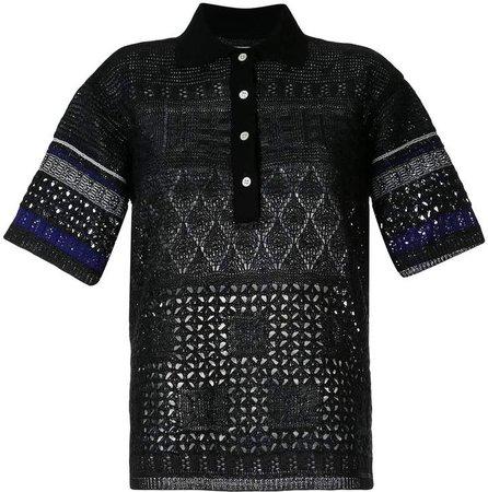 embossed eyelet knit polo shirt