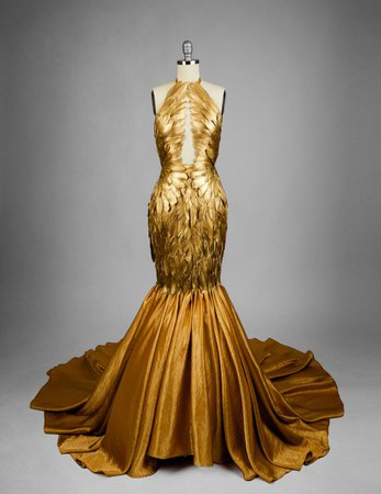 Gold Gilded Feather Couture Mermaid Gown | Etsy