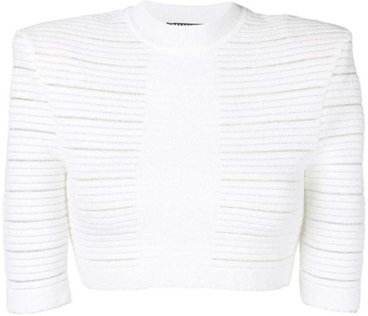 sheer panelled cropped top