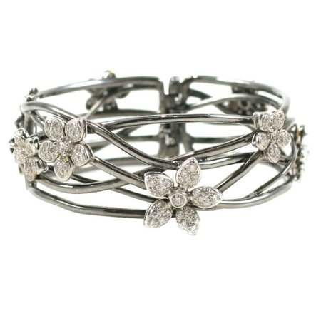 18K Black Gold Bangle with Diamond Flower Motif — Jeri Cohen Fine Jewelry
