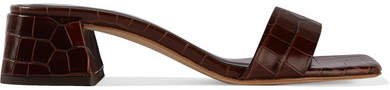 Courtney Croc-effect Leather Mules - Brown