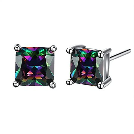 Amazon.com: Buycitky 18K White Gold Plated Multicolor Black Cubic Zirconia Stud Earrings for Women Teen Girls Jewelry: Jewelry