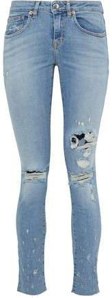 Elerie Distressed Low-rise Skinny Jeans