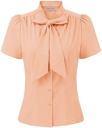 Womens Vintage Collared Button Down Shirt Apricot Short Sleeve Blouse Tops at Amazon Women's Clothing store