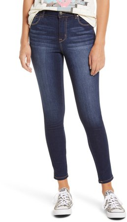 High Waist Organic Cotton Blend Ankle Skinny Jeans